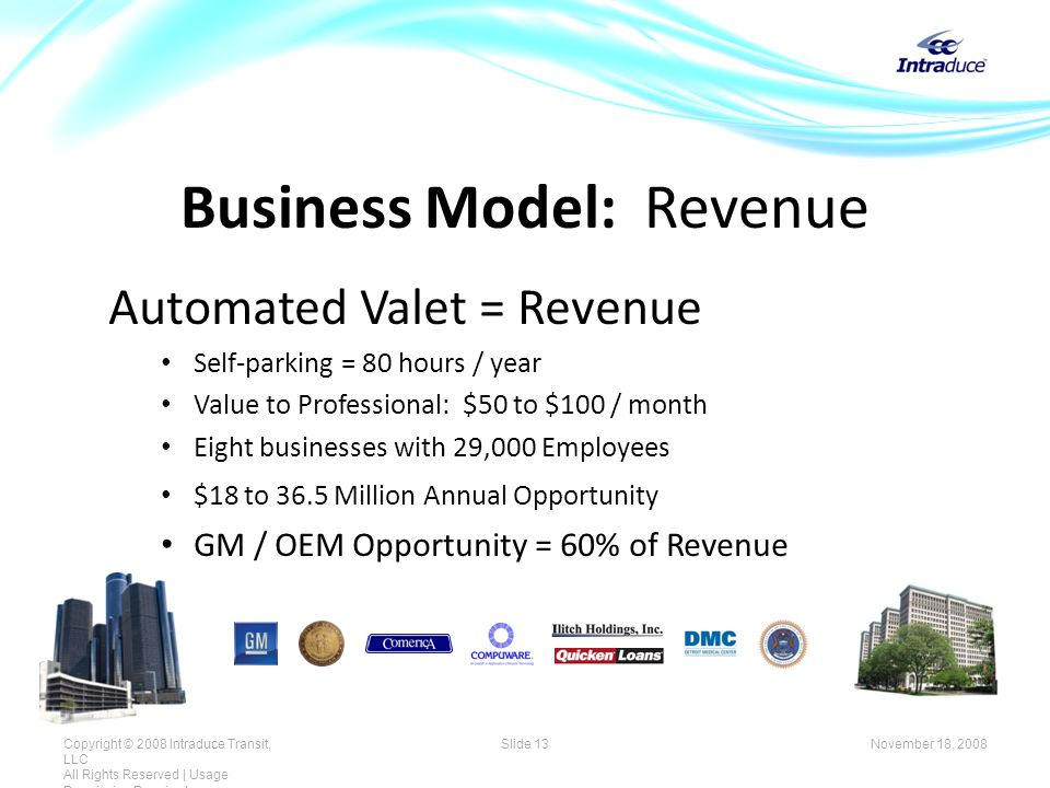 Business Model: Revenue Automated Valet = Revenue Self-parking = 80 hours / year Value to Professional: $50 to $100 / month Eight businesses with 29,000 Employees $18 to 36.5 Million Annual Opportunity GM / OEM Opportunity = 60% of Revenue November 18, 2008Copyright © 2008 Intraduce Transit, LLC All Rights Reserved | Usage Permission Required Slide 13