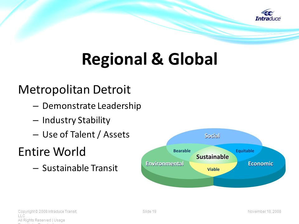 Regional & Global Metropolitan Detroit – Demonstrate Leadership – Industry Stability – Use of Talent / Assets Entire World – Sustainable Transit November 18, 2008Copyright © 2008 Intraduce Transit, LLC All Rights Reserved | Usage Permission Required Slide 19