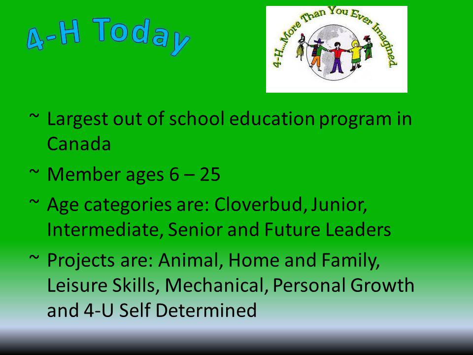 ~Largest out of school education program in Canada ~Member ages 6 – 25 ~Age categories are: Cloverbud, Junior, Intermediate, Senior and Future Leaders ~Projects are: Animal, Home and Family, Leisure Skills, Mechanical, Personal Growth and 4-U Self Determined