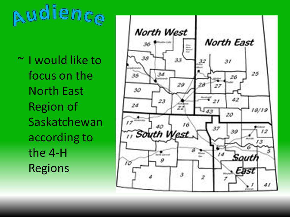 ~I would like to focus on the North East Region of Saskatchewan according to the 4-H Regions