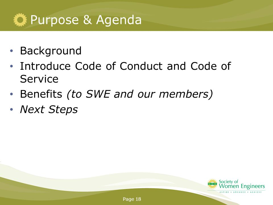 Purpose & Agenda Background Introduce Code of Conduct and Code of Service Benefits (to SWE and our members) Next Steps Page 18