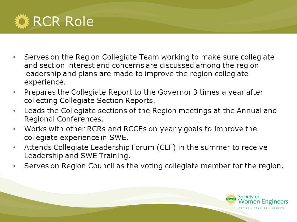 RCR Role Serves on the Region Collegiate Team working to make sure collegiate and section interest and concerns are discussed among the region leadership and plans are made to improve the region collegiate experience.