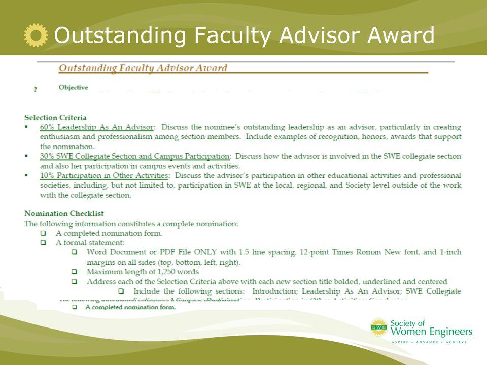 Outstanding Faculty Advisor Award