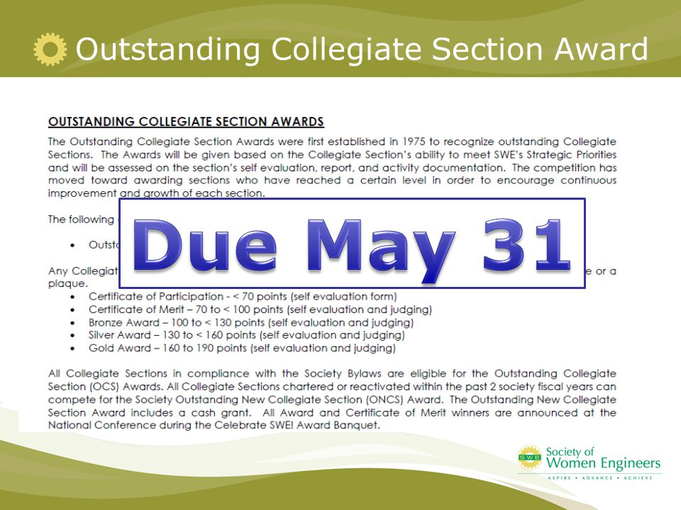 Outstanding Collegiate Section Award