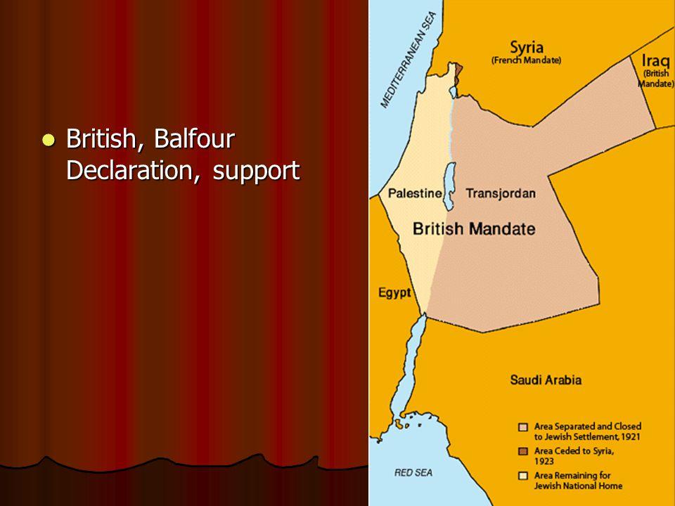 British, Balfour Declaration, support British, Balfour Declaration, support