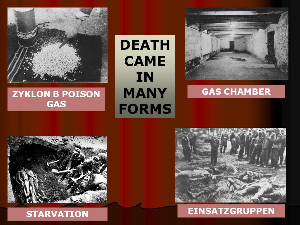 DEATH CAME IN MANY FORMS EINSATZGRUPPEN STARVATION ZYKLON B POISON GAS GAS CHAMBER