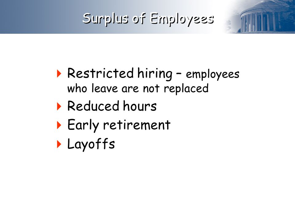  Restricted hiring – employees who leave are not replaced  Reduced hours  Early retirement  Layoffs Surplus of Employees