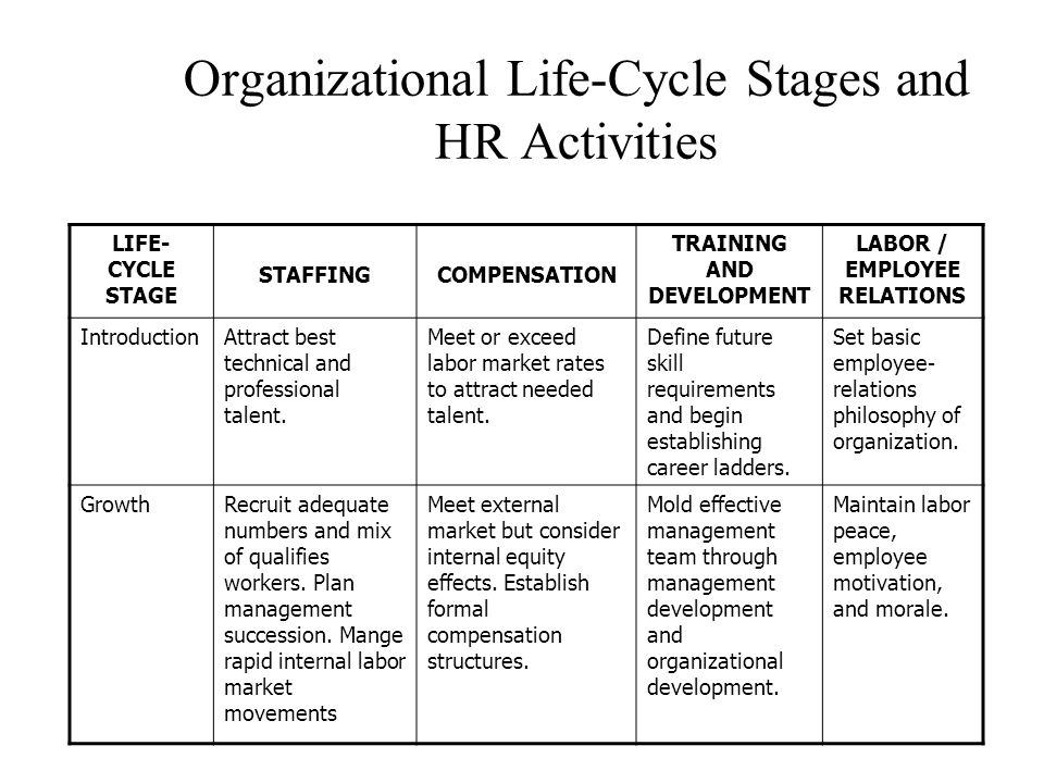 Organizational Life-Cycle Stages and HR Activities LIFE- CYCLE STAGE STAFFINGCOMPENSATION TRAINING AND DEVELOPMENT LABOR / EMPLOYEE RELATIONS IntroductionAttract best technical and professional talent.