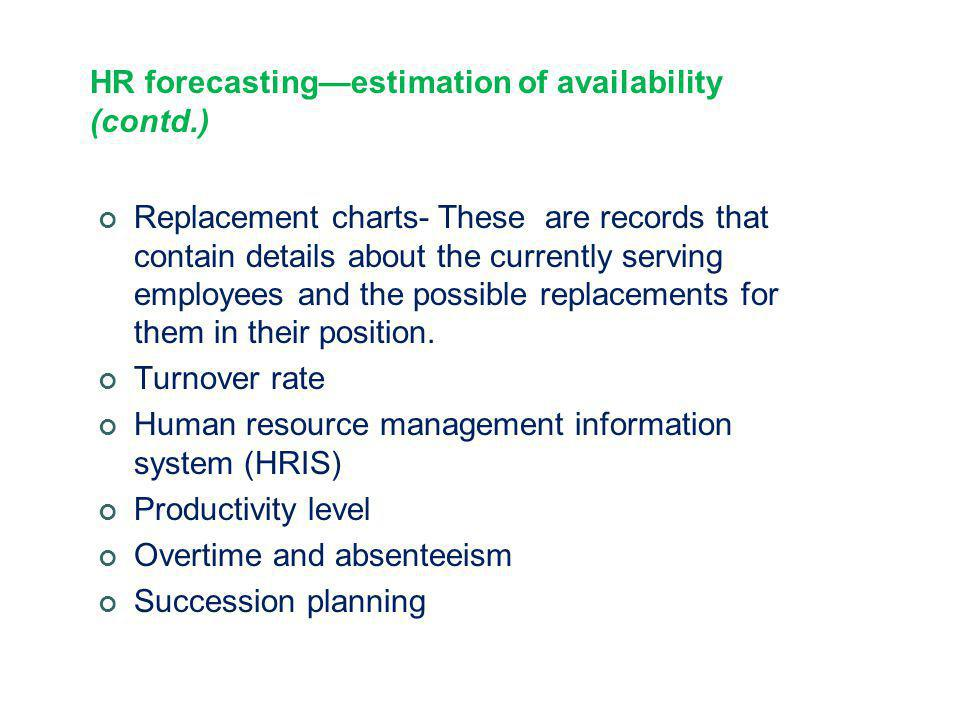 HR forecasting—estimation of availability (contd.) Replacement charts- These are records that contain details about the currently serving employees an