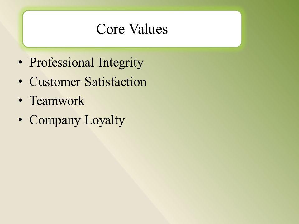 Professional Integrity Customer Satisfaction Teamwork Company Loyalty Core Values