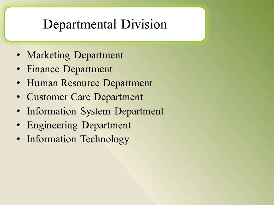 M arketing Department F inance Department H uman Resource Department C ustomer Care Department I nformation System Department E ngineering Department I nformation Technology Departmental Division
