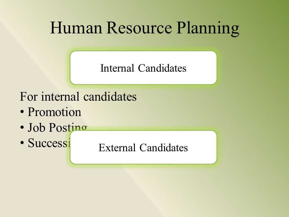 Human Resource Planning For internal candidates Promotion Job Posting Succession Planning Internal Candidates External Candidates