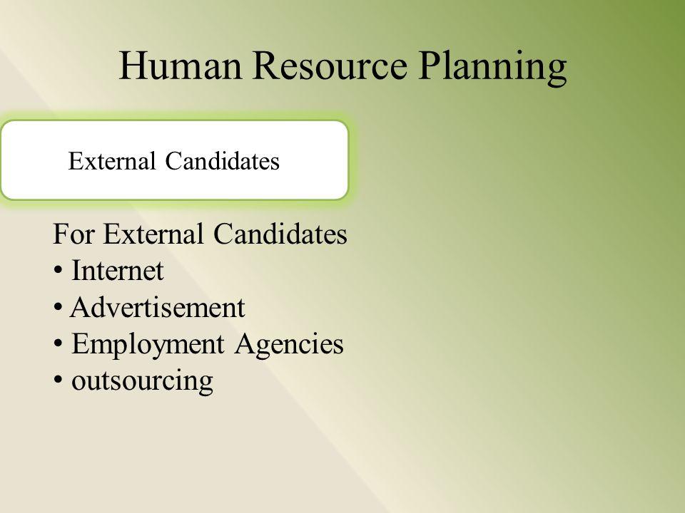Human Resource Planning For External Candidates Internet Advertisement Employment Agencies outsourcing External Candidates