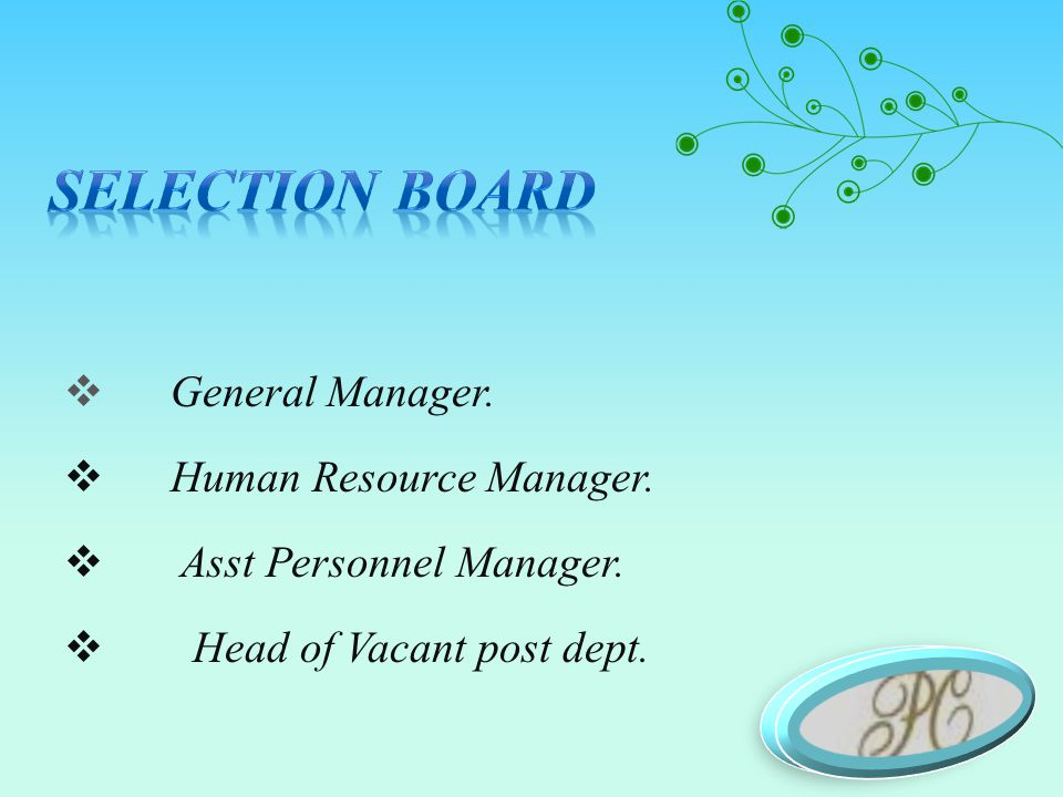  General Manager.  Human Resource Manager.  Asst Personnel Manager.  Head of Vacant post dept.