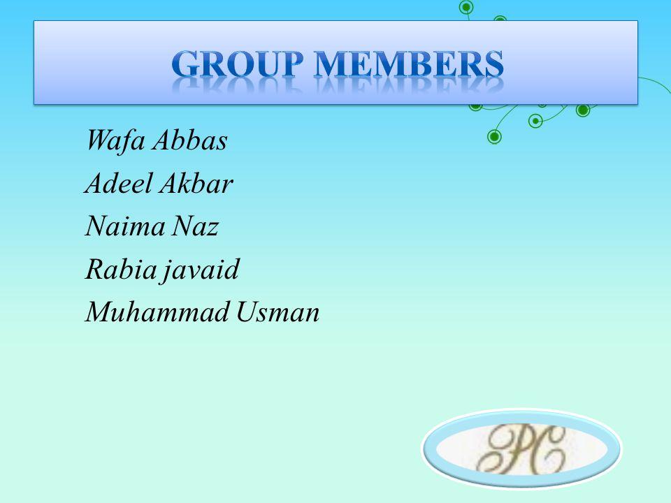 Wafa Abbas Adeel Akbar Naima Naz Rabia javaid Muhammad Usman