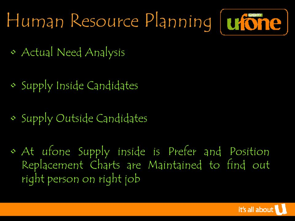 H uman R esource P lanning Actual Need Analysis Supply Inside Candidates Supply Outside Candidates At ufone Supply inside is Prefer and Position Replacement Charts are Maintained to find out right person on right job