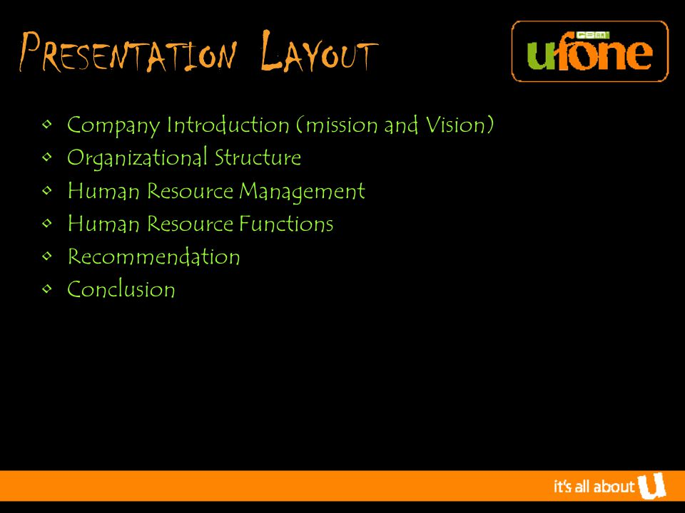 P RESENTATION L AYOUT Company Introduction (mission and Vision) Organizational Structure Human Resource Management Human Resource Functions Recommendation Conclusion