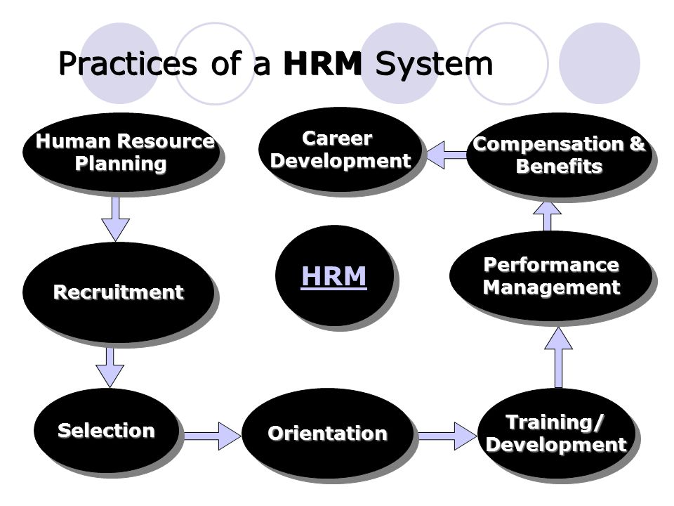 Practices of a HRM System RecruitmentRecruitment Training/DevelopmentTraining/Development Compensation & Benefits Benefits PerformanceManagementPerformanceManagement Human Resource Human ResourcePlanning Planning OrientationOrientationSelectionSelection CareerDevelopmentCareerDevelopment HRM