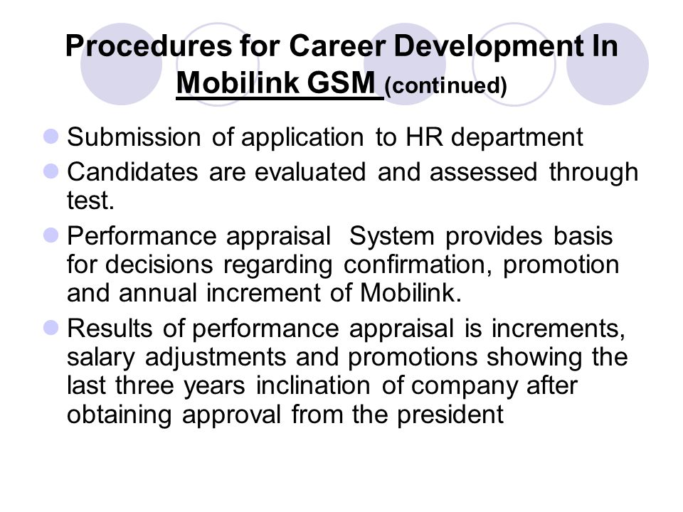 Procedures for Career Development In Mobilink GSM (continued) Submission of application to HR department Candidates are evaluated and assessed through test.