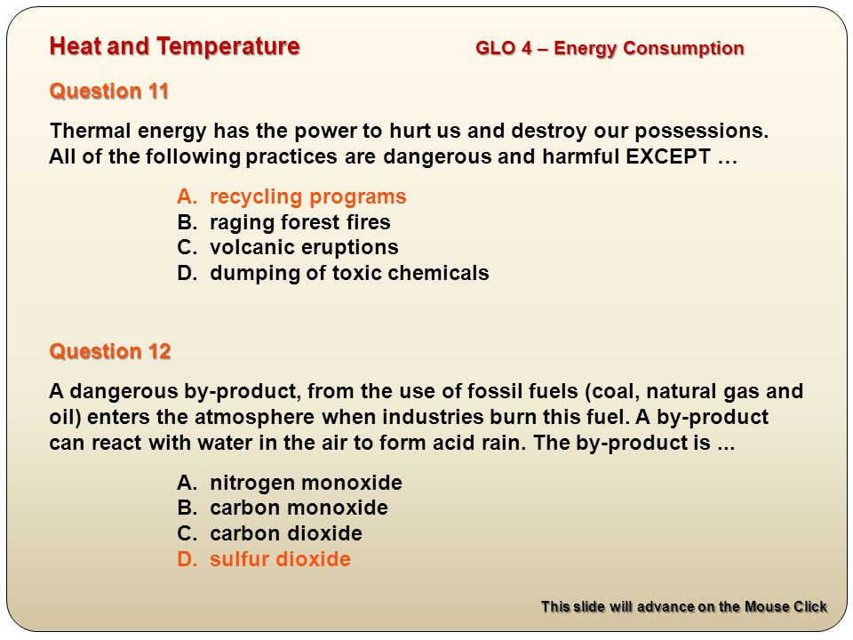 There are 14 questions on this test: Alternative Heat Sources ...