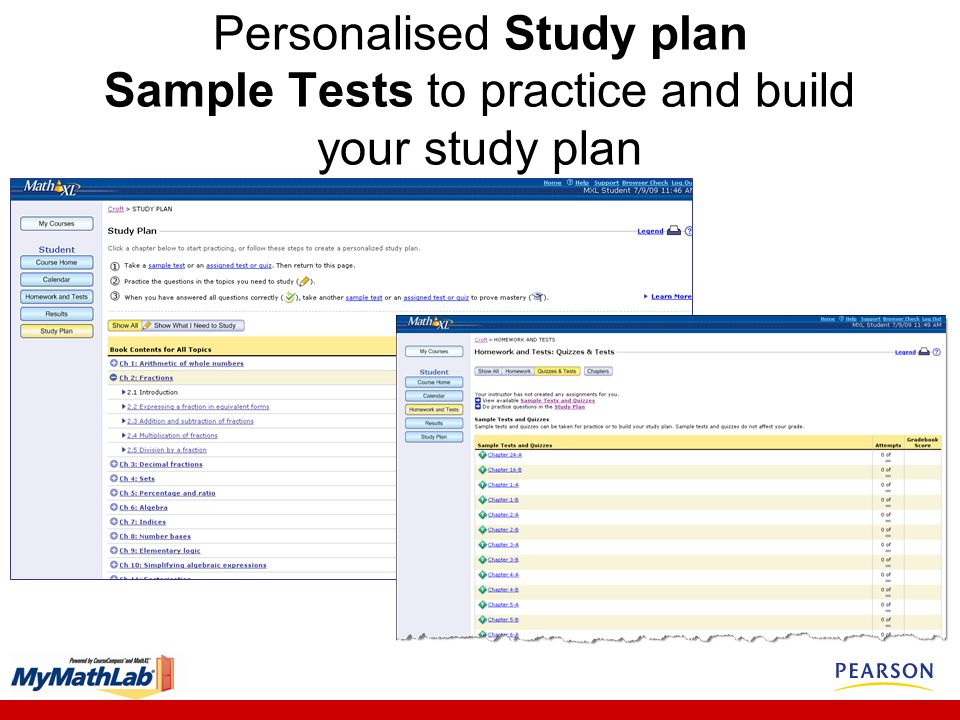 Personalised Study plan Sample Tests to practice and build your study plan