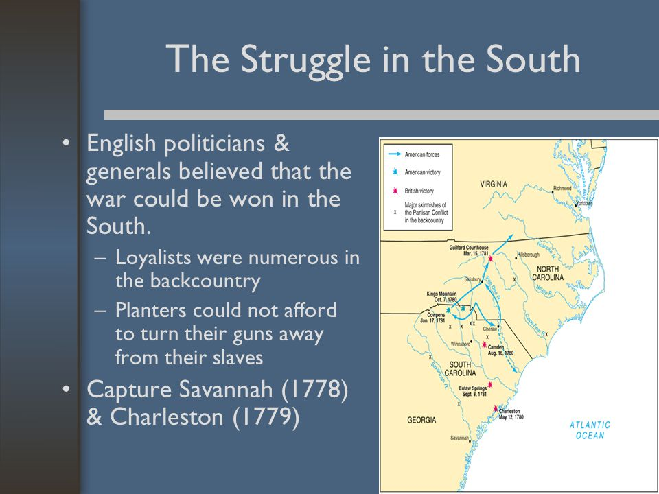 The Struggle in the South English politicians & generals believed that the war could be won in the South.