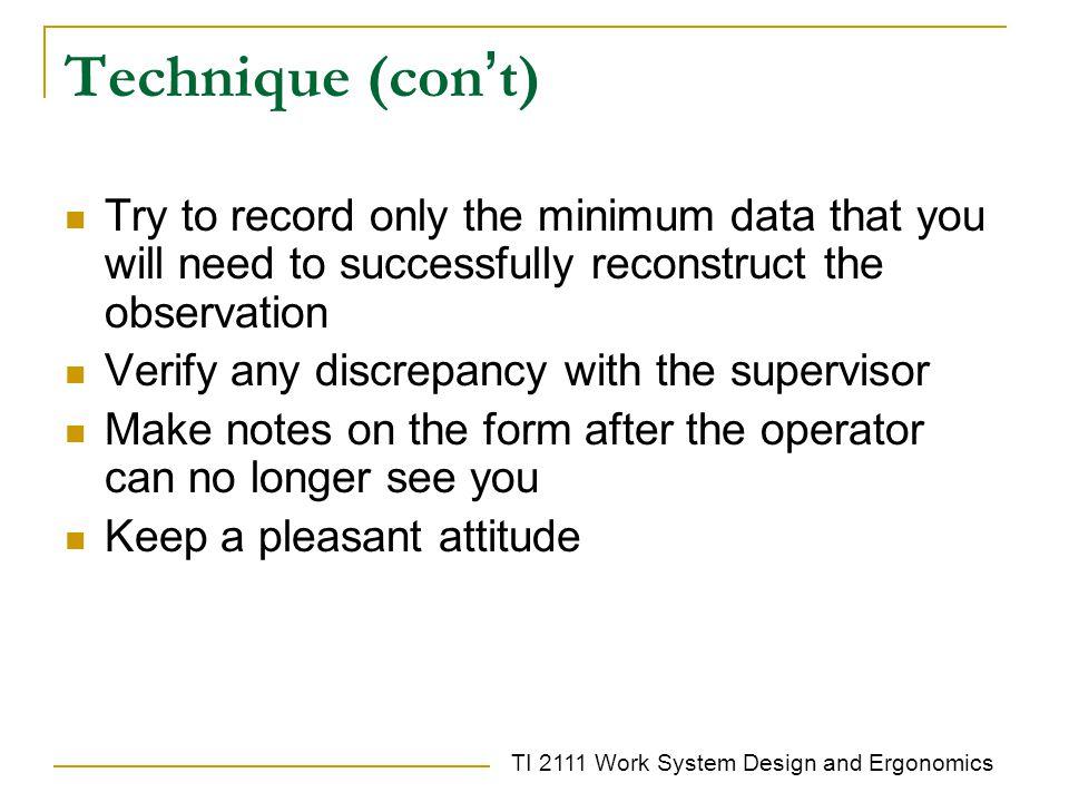TI 2111 Work System Design and Ergonomics