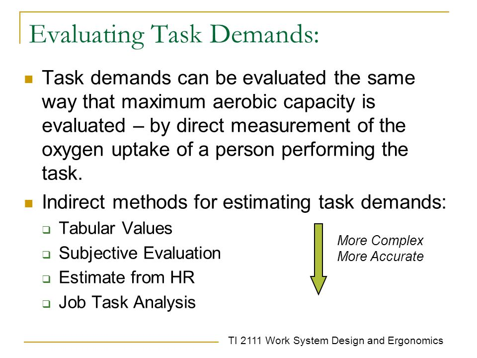 TI 2111 Work System Design and Ergonomics Evaluating Task Demands: Task demands can be evaluated the same way that maximum aerobic capacity is evaluated – by direct measurement of the oxygen uptake of a person performing the task.