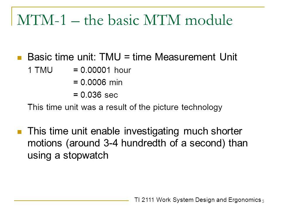 TI 2111 Work System Design and Ergonomics 5 MTM-1 – the basic MTM module Basic time unit: TMU = time Measurement Unit 1 TMU= 0.00001 hour = 0.0006 min