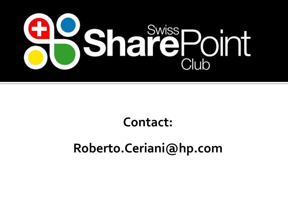 Contact: Roberto.Ceriani@hp.com