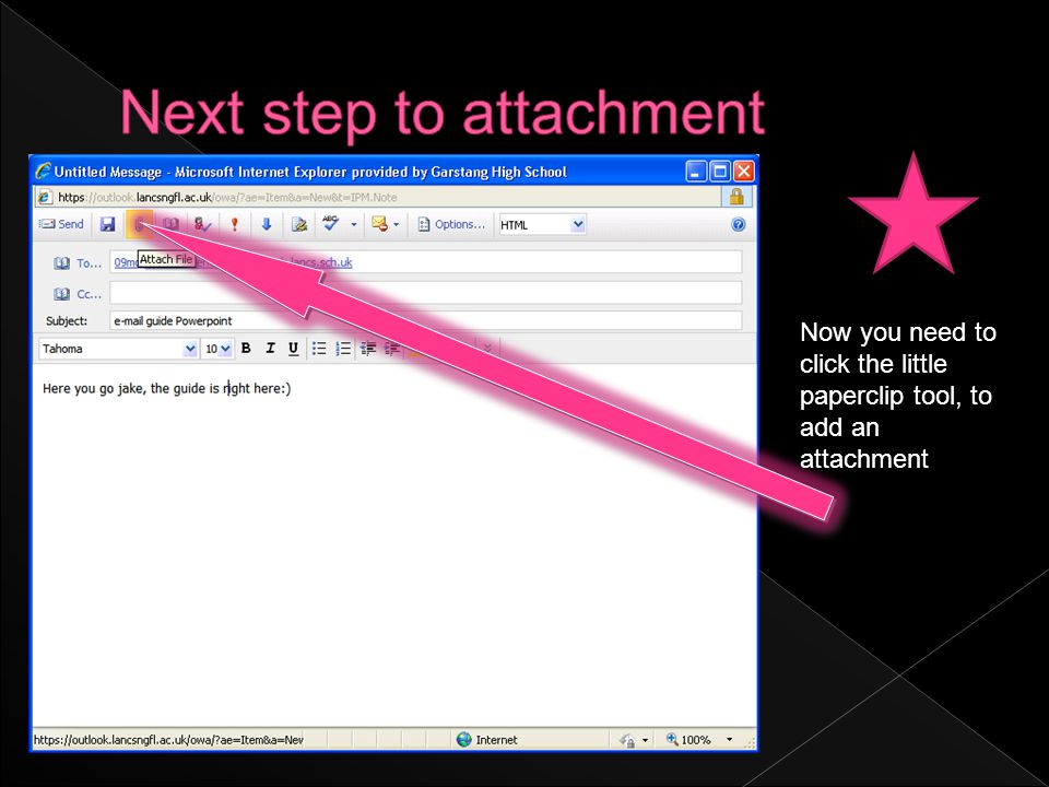 Now you need to click the little paperclip tool, to add an attachment