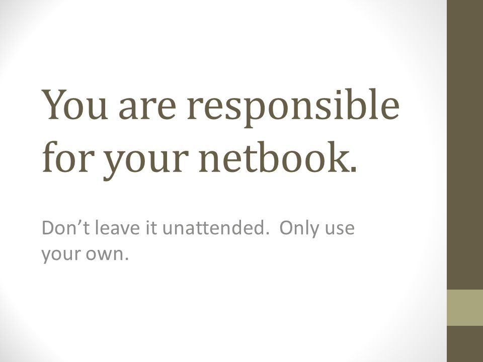 You are responsible for your netbook. Don't leave it unattended. Only use your own.