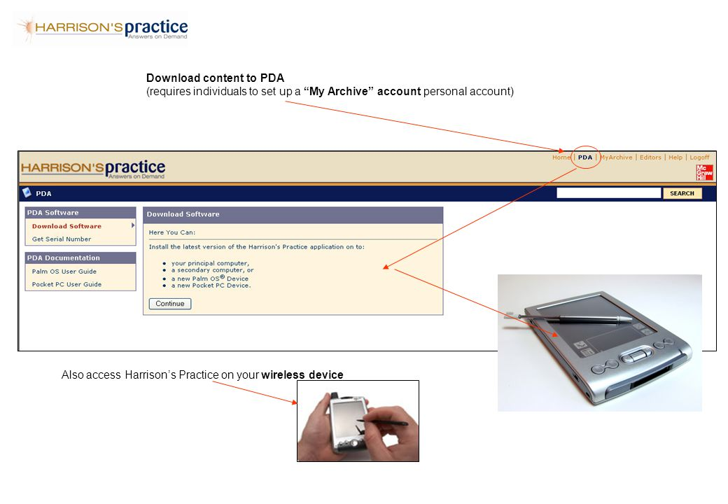 Download content to PDA (requires individuals to set up a My Archive account personal account) Also access Harrison's Practice on your wireless device