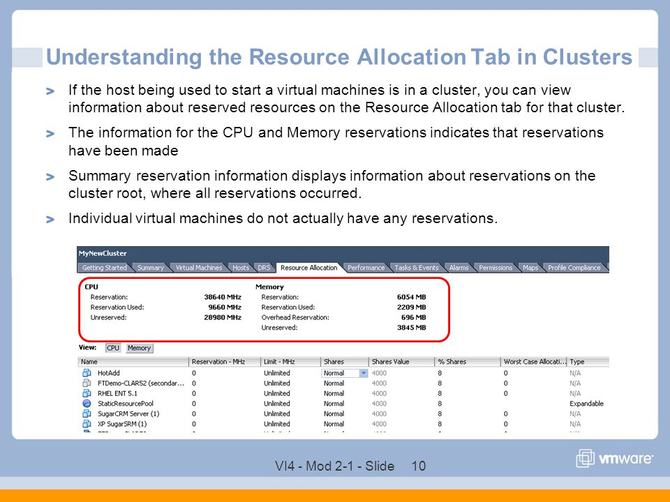 VI4 - Mod 2-1 - Slide 10 Understanding the Resource Allocation Tab in Clusters If the host being used to start a virtual machines is in a cluster, you