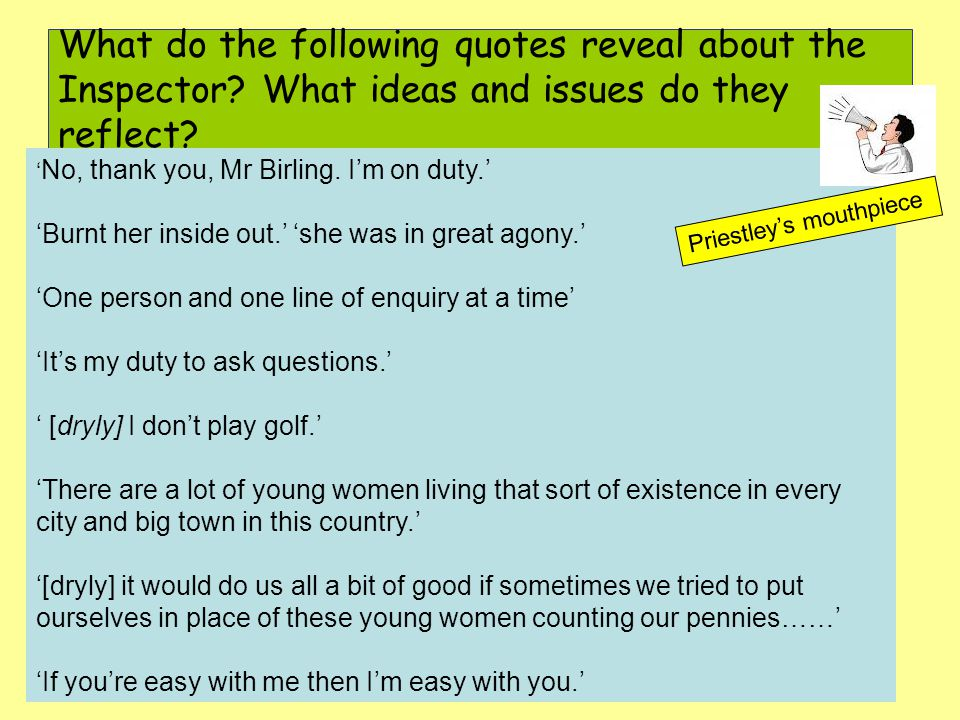 What do the following quotes reveal about the Inspector.