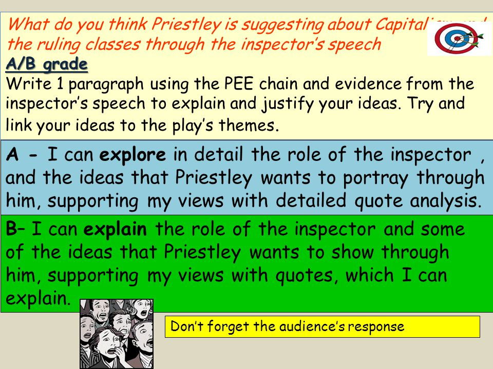 What do you think Priestley is suggesting about Capitalism and the ruling classes through the inspector's speech A/B grade Write 1 paragraph using the PEE chain and evidence from the inspector's speech to explain and justify your ideas.