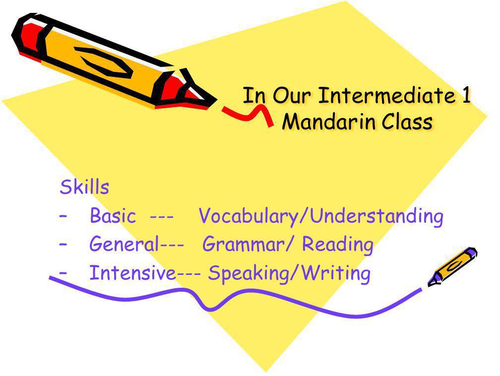 In Our Intermediate 1 Mandarin Class Skills –Basic --- Vocabulary/Understanding –General--- Grammar/ Reading –Intensive--- Speaking/Writing