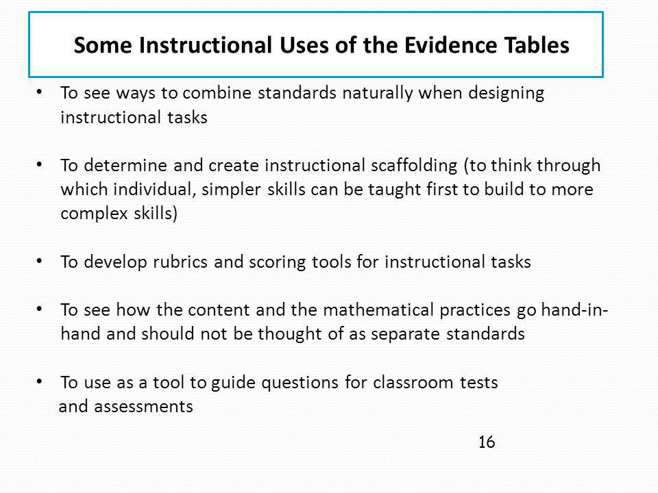 Some Instructional Uses of the Evidence Tables 16 To see ways to combine standards naturally when designing instructional tasks To determine and creat