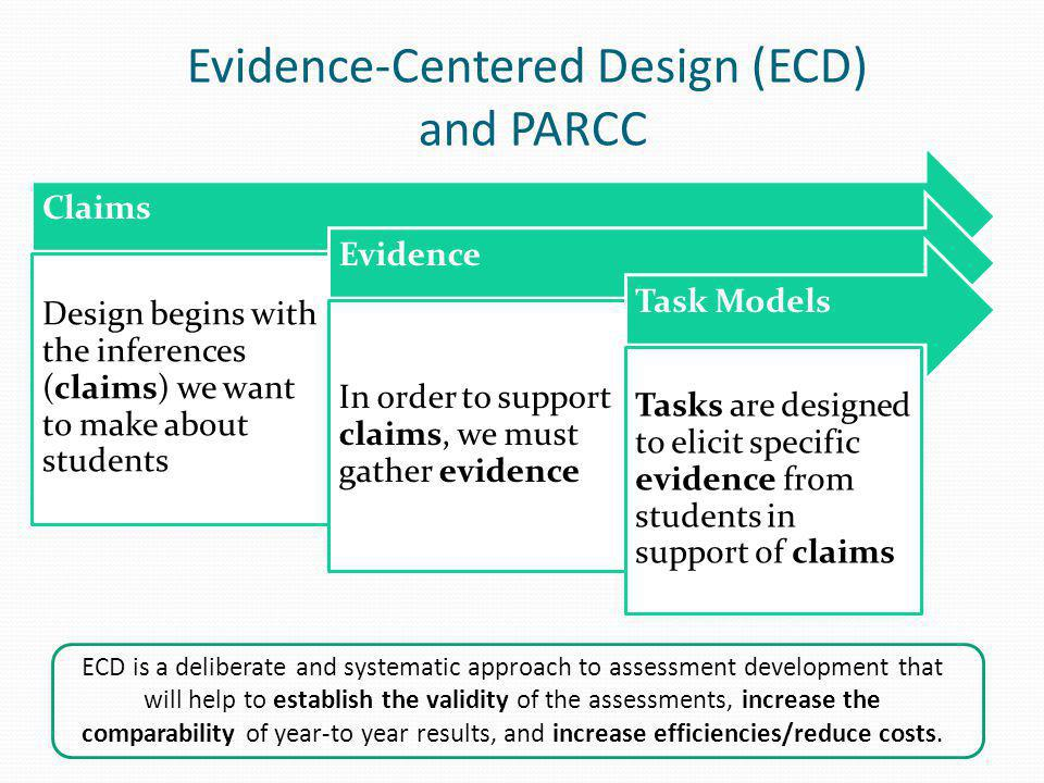 Evidence-Centered Design (ECD) and PARCC ECD is a deliberate and systematic approach to assessment development that will help to establish the validit
