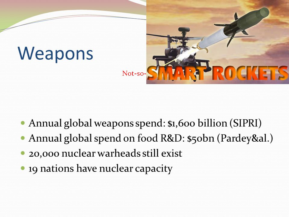 Weapons Annual global weapons spend: $1,600 billion (SIPRI) Annual global spend on food R&D: $50bn (Pardey&al.) 20,000 nuclear warheads still exist 19