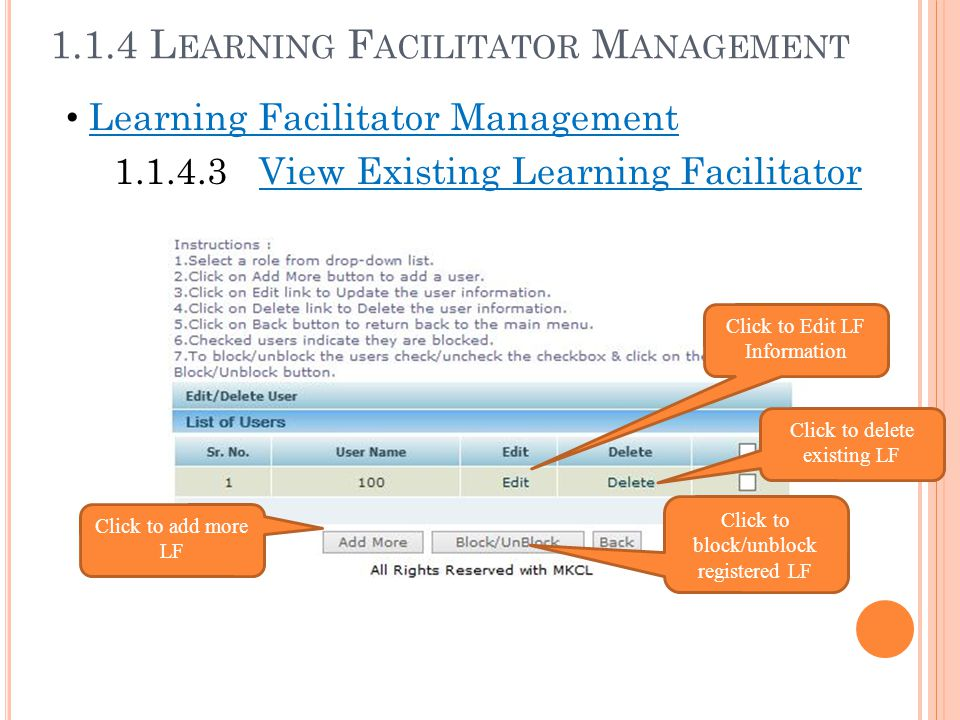 Learning Facilitator Management 1.1.4.3 View Existing Learning Facilitator Click to Edit LF Information Click to delete existing LF Click to add more