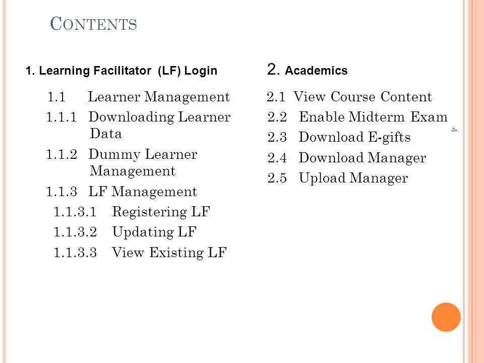 C ONTENTS 1.1 Learner Management 1.1.1 Downloading Learner Data 1.1.2 Dummy Learner Management 1.1.3 LF Management 1.1.3.1 Registering LF 1.1.3.2 Upda