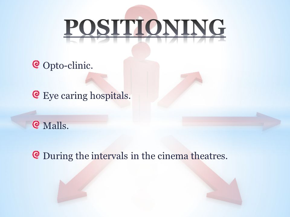 Opto-clinic. Eye caring hospitals. Malls. During the intervals in the cinema theatres.