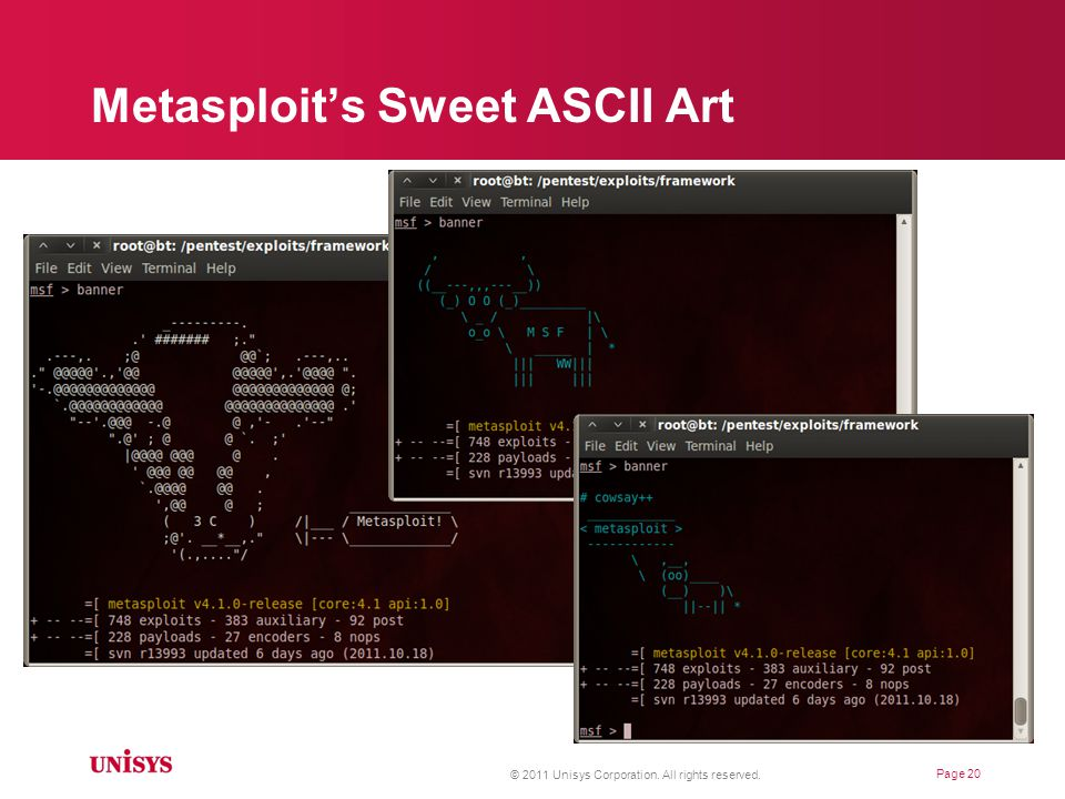 Metasploit's Sweet ASCII Art © 2011 Unisys Corporation. All rights reserved. Page 20