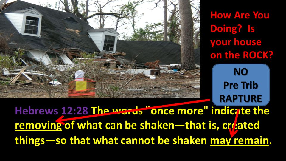 GOD: I WILL SHAKE ALL THINGS THAT CAN BE SHAKEN Haggai 2:6 For thus says the LORD of hosts, Once more in a little while, I am going to shake the heavens and the earth, the sea also and the dry land.'