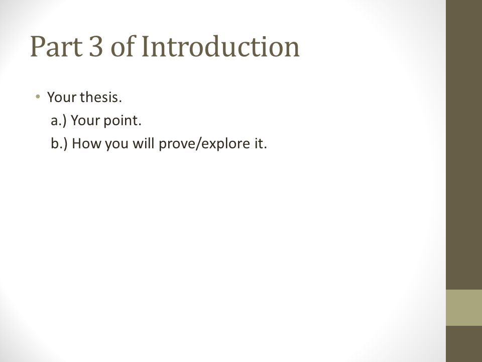 Part 3 of Introduction Your thesis. a.) Your point. b.) How you will prove/explore it.