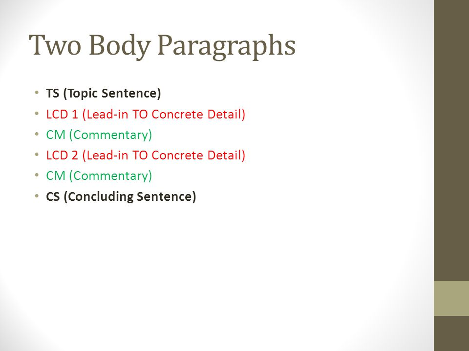 Two Body Paragraphs TS (Topic Sentence) LCD 1 (Lead-in TO Concrete Detail) CM (Commentary) LCD 2 (Lead-in TO Concrete Detail) CM (Commentary) CS (Conc