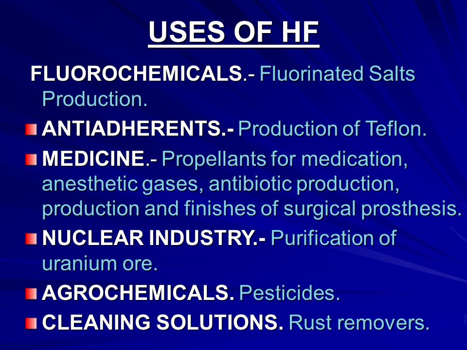 USES OF HF FLUOROCHEMICALS.- Fluorinated Salts Production.