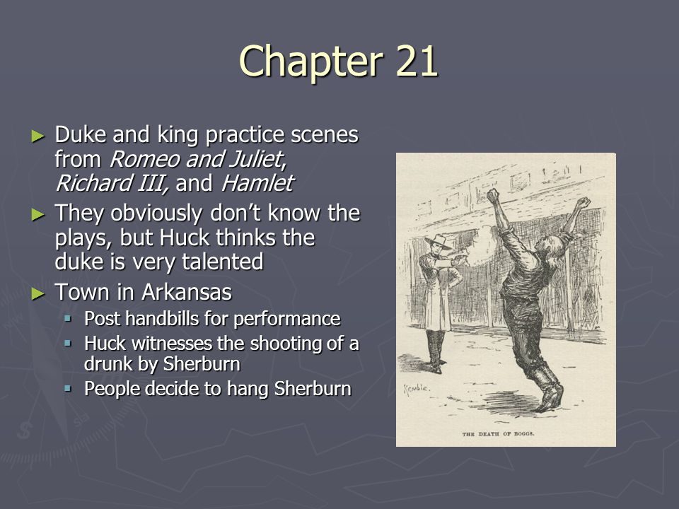 Chapter 22 ► After giving a speech about mob mentality with a rifle in hand, Sherburn is spared by the lynch mob.