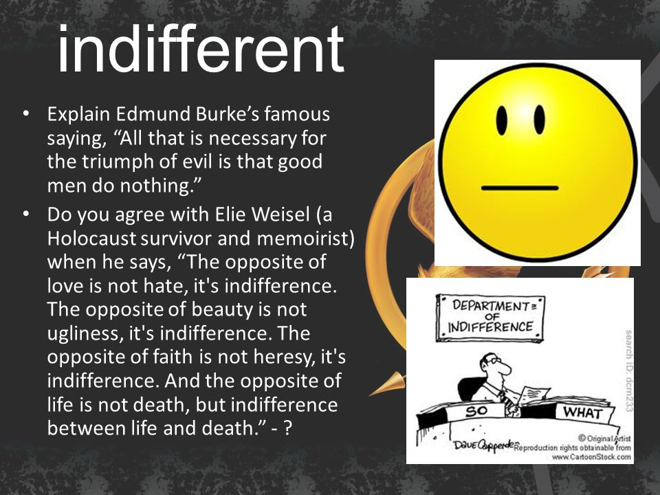 indifferent Explain Edmund Burke's famous saying, All that is necessary for the triumph of evil is that good men do nothing. Do you agree with Elie Weisel (a Holocaust survivor and memoirist) when he says, The opposite of love is not hate, it s indifference.